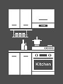 Kitchen furniture icon.