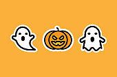 Ghost vector and Pumpkin vector illustration halloween sticker style.