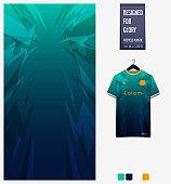Soccer jersey pattern design.  Thunder pattern on green background for soccer kit, football kit or sports uniform. T-shirt mockup template. Fabric pattern. Sport background.