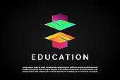 Two Colorful graduation Education Logo Template