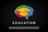 Gold Graduation hat over colorful liquid shape for Education Logo Template