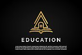 House icon over Open book illustration for Education Logo Template