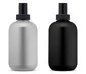 Shampoo bottle. Black white cosmetic package blank