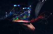 Businessman holding phone with reflection analyzing sales data and economic growth graph chart. Business strategy to success, profit and growing growth plan.