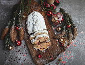 Traditional Christmas stollen, cookies and Christmas decorations, pastry dessert