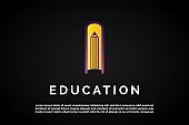 Letter I incorporated With book and pen icon for Education Logo Template