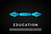 Diverse blue pen illustration for Education Logo Template