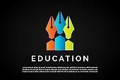 Three colorful pen icon Education Logo Template