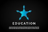 Incorporated pen icon into the star icon for Education Logo Template
