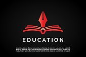 Red Pen icon over open book illustration for Education Logo Template