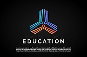 Three open books icon in form to triangle for Education Logo Template