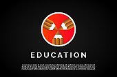 Three pens in the circle for Education Logo Template