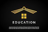 Incorporated Open book as roof icon for Education Logo Template