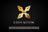 Letter X incorporated With pen icon for  Education Logo Template
