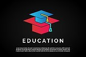 Two graduation hats that overlapping for Education Logo Template