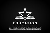 silver Star icon over open book illustration for Education Logo Template
