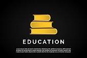 three golden books arranged for Education Logo Template