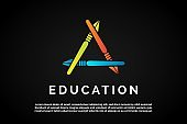 Triangle pens for Education Logo Template