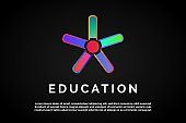 Five books in form to the star for Education Logo Template