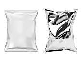 Foil snack bag. White plastic food sachet isolated