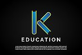 Letter K incorporated With three books for Education Logo Template