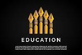 Five Gold Pens illustration for Education Logo Template