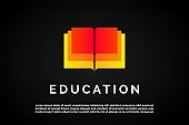 Overlapping Colorful Books icon for Education Logo Template