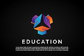 Three Colorful Graduation hat for Education Logo Template Monogram