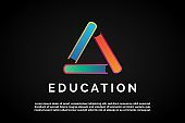 Three Colorful Books icon in triangle form for Education Logo Template