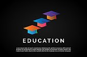 Three Colorful Graduation hat with stairs form for Education Logo Template