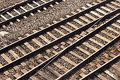 Top view of railways on a sunny day