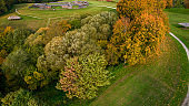 Landscape in beautiful autumn colors photographed with a drone.