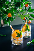 Two refreshing fruits cocktails with orange, mint and ice on dark table with a citrus tree background. Summer bar drinks. Vertical card. Selective fiocus, copy space.