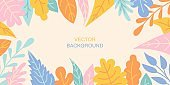 Vector horizontal abstract background with autumn colorful leaves
