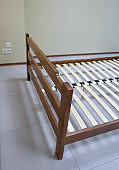 frame of a double wooden bed