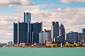 Detroit, Michigan, USA Downtown Skyline on the River