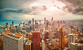 Chicago, Illinois, USA aerial downtown Skyline at Dusk
