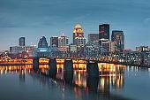 Louisville, Kentucky, USA downtown skyline on the Ohio River