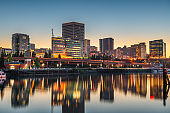 Tacoma, Washington, USA downtown skyline on Commencement Bay.