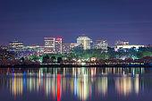 View of Rosslyn, Arlington, Virginia, USA from the tidal basin in Washington DC at Dusk
