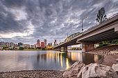 Portland, Oregon, USA skyline at dusk on the Willamette River
