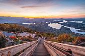 Hiawassee, Georgia, USA landscape with Chatuge Lake in early autumn