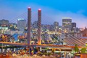 Tacoma, Washington, USA cityscape with East 21st Street Bridge