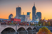 Indianapolis, Indiana, USA skyline on the White River