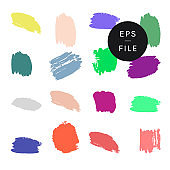 Hand painted calligraphic paint brush strokes stains vector collection, design element swatch. A set of SS 2021 color trend cool pastel neon traced adjustable shapes isolated on plain background. Colour concepts fun, friendship, togetherness