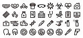Coronavirus Icon Set (Bold outline version)