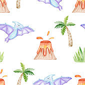watercolor blue pterodactyl seamless pattern on white background. Cute dinosaur