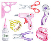 watercolor pink craft tools set isolated on white background. Scrapbook supplies illustrations