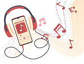 Wired old retro style professional headphone connected to smartphone and play music flat vector illustration
