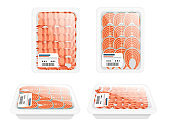 Set of vacuum sealed packaging with seafood packaging for groceries store or market flat vector illustration isolated on white background